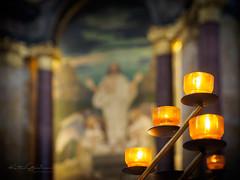 I light a candle... (Karsten Gieselmann) Tags: 1240mmf28 bokeh em5markii farbe kerzenlicht mzuiko microfourthirds olympus orange candlelight color kgiesel m43 mft hamburg deutschland michel stmichaelis