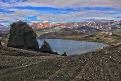 Iceland ~ Landmannalaugar Route ~  Ultramarathon is held on the route each July ~ Hiking from Camp -  Lava (Onasill ~ Bill Badzo) Tags: iceland landmannalaugar route trail hiking snow mountain nature sky clouds onasill landmark historic hdr landscape july reykjavík ultramannalaugar travel tourist river canyon frame border photo outdoor serene rapids sunset golden hill mountainside cliff crag grassland field rock water trekking wave canon 18250mm sl1 sigma macro lens lava bedrock lake sea bay