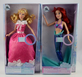 2018 Singing Cinderella and Ariel Dolls - Disney Store Purchase - Boxed - Front View