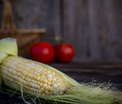 (donna leitch) Tags: stilllife tabletop corn tomatoes basket seasonal donnaleitch canon5dmarkiii ef50mmf14usm husk fresh