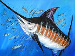 annette taunton blue marlin art painting (annettetaunton) Tags: art painting wildlife sealife ocean gulfofmexico bluemarlin blue orange gold yellow green fishing hunting