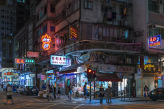 Mong Kok night life (mikemikecat) Tags: mongkok 旺角 nostalgia house mikemikecat architecture stacked building colorful housing 抽象 建築 建築物 城市 天際線 戶外 block hong kong cityscapes street 香港 路 建築大樓 vintage 建築結構 基礎建設 market village 檔 商店 snapshot urban neonlights neonsign neon nightscape night twilight