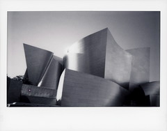 Walt Disney Concert Hall 35 (tobysx70) Tags: instax fujifilm fuji wide monochrome bw black while instant film 500af camera walt disney concert hall south grand avenue dtla downtown los angeles la california ca philharmonic phil stainless steel frank gehry architect architecture music center venice polarendezvous 051618 toby hancock photography
