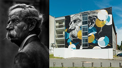 Man at Bus Stop & Mural (.Betina.) Tags: betinalaplante danieleime mural paris collaboration portraiture street wallart portrait