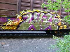 ....................  TDK (arrowlakelass) Tags: graffiti paint steel train boxcars p1180648