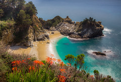 McWay Falls in 21 seconds (snowyturner) Tags: waterfall mcway longexposure bigsur california coast beach spring flowers empty deserted rocks cliffs pacific