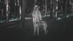*** (zeldabylinovitch) Tags: fairytale frost wood twilight mood tree girl dog empathy outdoorportrait outdoor manuallens helios442 märchen