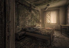 Nightmares don't stop when you wake up... (Marco Bontenbal (Pixanpictures.com)) Tags: nikon d750 tamron 1530 lost abandoned decay urbex urban ue urbanexploring photography pixanpictures mysterious hidden germany hotel forgotten amazing beautiful natural light naturallight nightmare bed bedroom hotelroom