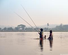 Fishing (hendrap) Tags: fishing indonesia sunrise sunset water river sky fish people landscape streetphotography