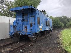 Tom Burke Photo Conrail Caboose Rainy Day by Walnut Street South Bend IN July 21 2018 #1 (Tom J. Burke) Tags: south bend southbend railroad switcher caboose freight