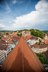 The Roof of Tubingen (huw_thomas06) Tags: tubingen church city panorama architecture town view europe old cityscape roof house houses home homes buildings building travel sky landscape germany skyline roofs summer aerial tourism panoramic red brick tiles sun cloud birdseyeview tower shadow traditional trees landmark urban street european history historic
