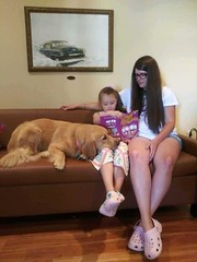 Joy being read to at CCC (hospicecareplusinc) Tags: compassionatecarecenter joy therapy dog 2018
