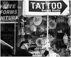 Tattoo (mikeangol) Tags: blackandwhite people candid bronx newyorkcity monochrome decisive