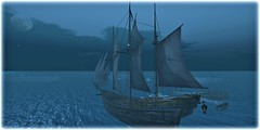 White Shores Are Calling (Loegan Magic) Tags: secondlife thecrowsnest intothewest lordoftherings ship ocean moon water death annielennox mourning loss boat sky sailing