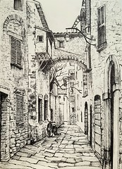 Gubbio, Italy (zoe_r_s) Tags: zoersart zoers gubbio italy penandink penink drawing freehanddrawing drawingfromphoto blackandwhite architecture architecturedrawing art urbansketch crosshatching