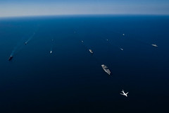 Participating nations sail in formation in the Black Sea during exercise Sea Breeze 2018.