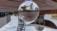 the world upside down, but which is which? (Filigranas Digitales) Tags: valencia españa esp glassballphotography glassball lensball sky touristattraction sphere outdoors scenery spherical travel crystalball nopeople upsidedown cielo wooden sitting bench wood modernart standing environment