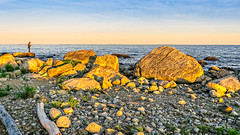 Fishing at Sunset on a Rocky Shore (Alan Charles) Tags: ct connecticutshore hammonassetbeachstatepark hammonassetstateparkmeigspoint meigspoint seascape beach fishing ocean rockyshoreshore sea shore sunset