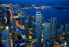 Condominiums & Toronto Harbour .... Toronto, Ontario (Greg's Southern Ontario (catching Up Slowly)) Tags: nightphotography torontoist torontocondominiums torontoharbour gardinerexpressway skyscrapers highrises skyline citylights illumination downtown downtowntoronto canadiancity cityoftoronto