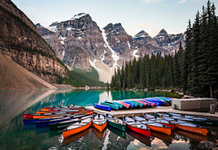 The Canoes of Moraine Lake (brian.pipe) Tags: nikon d500 tokina 11 20 moraine lake alberta canada canoe banff national park