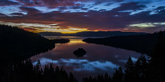 Emerald Bay Sunrise Pano - 3 (Z. Abbey) Tags: clouds cloudsstormssunsetssunrises sun sunrise laketahoe lake tahoe water california cali calif nature scenery landscape landscapesdreams canon canon80d canoneos80d eos 80d canonphotography canonflickraward dcc shadows silhouette sky morning dawn daybreak emeraldbay