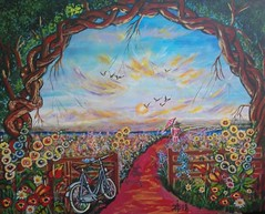 FANTASY FLOWER GARDEN (tomas491) Tags: flowers girl bicycle sun trees clouds acrylic fantasy bridge umbrella birds