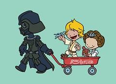 Father of the year (artistles77) Tags: cartoon postcard earth vader luke leia starwars father wagon kids