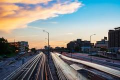 Sunset Trails (BlinkOfALens) Tags: chicago illinois us sunset lighttrails cityscape highway