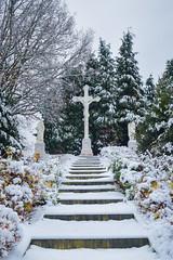 Begraafplaats Bredaseweg (OlivierVanIsle) Tags: snow snowy winter wonderland december d3300 tilburg netherlands dutch cemetary cross jesus