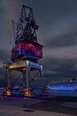 Tenerife Harbour (Rob McC) Tags: tenerife santacruz bluehour port harbour waterfront derrick crane ship ventura po nightandlight