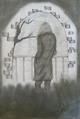 Take a look (Mealynn) Tags: zeichnung bleistiftzeichnung painting drawing pencildrawing man men people look tree baum grey grau