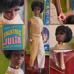 Julia (DeanReen) Tags: vintage mod talking julia 1971 71 1970s 70s 1960s 60s 1969 69 1128 fashion model tv star barbie mattel diahann carroll gold silver jumpsuit palazzo aa african american black