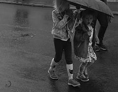 Raining on National Day parade - Iceland (bd168) Tags: monochrome children enfants rain pluie umbrella parapluie xt10 xf27mmf28 islande iceland