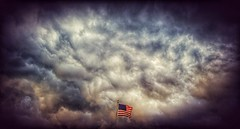 riding the storm out... (BillsExplorations) Tags: storm threatening dark foreboding flag clouds stormfront stormclouds rain severeweather illinois thunderstorm july4th hot humid oldglory