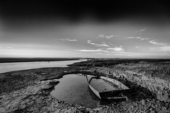 Never Sail Again (andybam1955) Tags: bigskyatstiffkey stiffkey quay landscape monochrome peaceful tranquility coastal rural sky northnorfolk boats clouds norfolk sea
