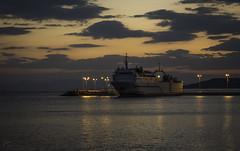 Il était un petit navire (Kostis Tatakis) Tags: ship boat port harbour harbor dusk sundown sunset twilight colours clouds sea neapolis mani peloponnese greece nikond7200