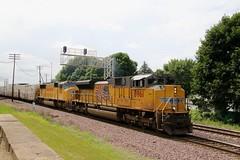 Full train of reefers (kschmidt626) Tags: union pacific train illinois rochelle park railroad graffiti bnsf burlington diamond