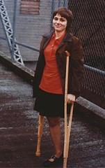 A098_3  - Hip Disarticulation Girl (jackcast2015) Tags: disabledwoman disabled disabledladies crippledwoman crutches amputee amputeewoman hdamputee hdamputation monopede crutch miniskirt