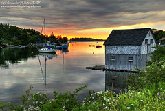 Sunset Over Hackett's Cove (sminky_pinky100 (In and Out)) Tags: hackettscove novascotia canada cove sunset landscape scenic pretty travel tourism boats fishinghut tranquil glow settingsun outdoors atlanticcanada maritimeprovinces omot cans2s sea water inlet