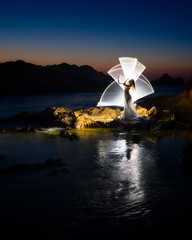 Tube light painting 2 | Menorca, Spain (NicoTrinkhaus) Tags: light painting lightpainting tubelight menorca balearic balearicislands photopills camp evening waterscape rocks spain island lighttrails