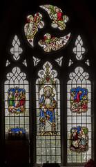 Scarborough, St Mary's church window (damaged) (Jules & Jenny) Tags: scarborough stainedglasswindow stmaryschurch wailes