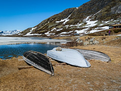 """""""In storage"""" (Terje Helberg Photography) Tags: boat decay grass ice landscape landskap mountain natur nature neglected outdoor outside roadtrip snow snowtip unattended view water"""