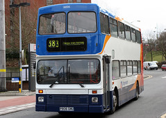 16006 P806 GMU (Cumberland Patriot) Tags: stagecoach north west england greater manchester south buses stockport volvo olympian nc northern counties palatine vn6 16006 p806gmu step entrance double deck decker bus ex london transport derv diesel engine road vehicle 383 marple