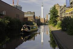 20180704_Birmingham-canalsSqaure (Damien Walmsley) Tags: venice canals canalandriversidetrust bttower water reflections longboat morning blue sky birmingham