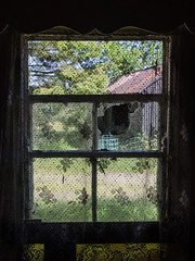 The Old House on Liscabble Road (4) (Feldore) Tags: gortin farm old abandoned derelict farmyard lace curtains window northern ireland irish feldore mchugh em1 olympus 1240mm house farmhouse sperrins tyrone