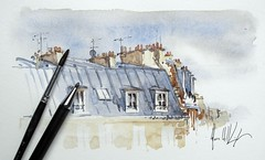 Paris rooftops (alexhillkurtzart) Tags: urbansketch usk watercolor paris