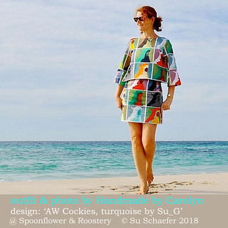 'AW Cockies, turquoise by Su_G' used for a fabulous outfit by Handmade by Carolyn