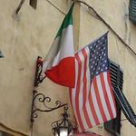 Italian and US flags - Via Fillungo, Lucca thumbnail