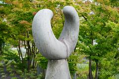 Sculpture of Keio University, Mita Campus, South Building (慶應義塾大学三田キャンパス 南館) (christinayan01 (busy)) Tags: tokyo japan architecture building perspective garden university tree