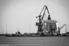 Strung up (kalybia) Tags: barco ship crucero cruise greece iraklion crete sea port puerto gruas mar bw blackandwhite blancoynegro limani